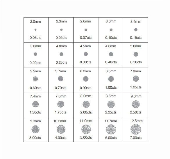 6+ Sample Diamond Size Charts Sample Templates - diamond size chart template