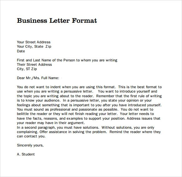 professional business letter template - Klisethegreaterchurch - Professional Business Letter Format