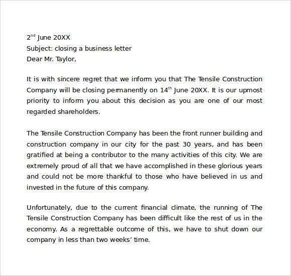 7+ Sample Closing a Business Letters Sample Templates - sample closing a business letter