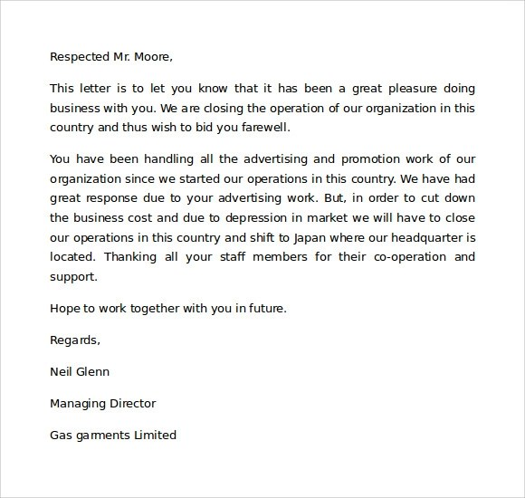 Sample Closing a Business Letter - 6+ Documents in Word, PDF