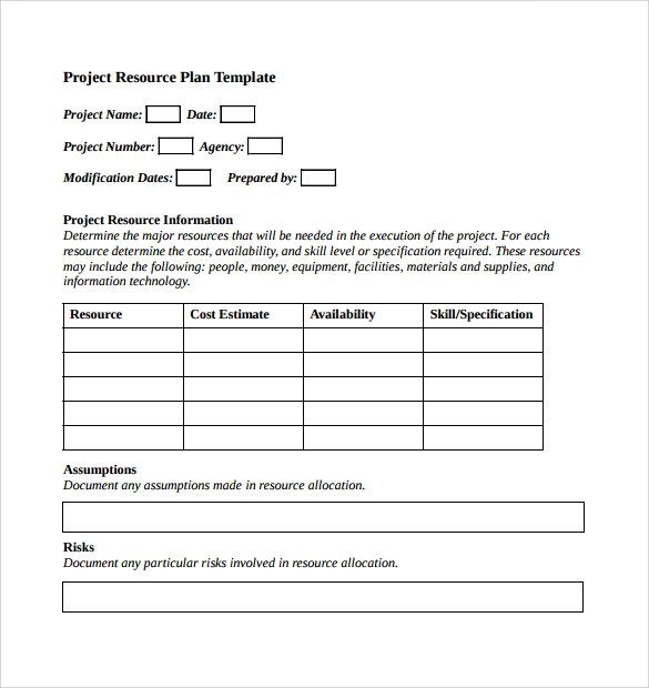 resources plan template - Onwebioinnovate - resource planning template