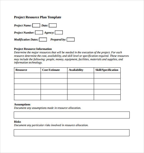 8+ Sample Resource Planning templates Sample Templates - resource plan template