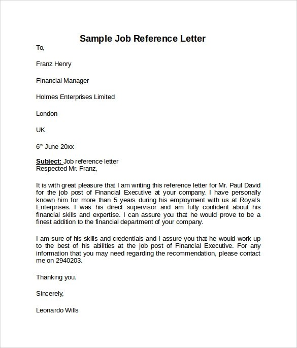 8 Job Reference Letters \u2013 Samples, Examples  Formats Sample Templates - job reference letter template