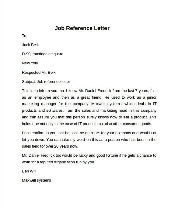 8 Job Reference Letters \u2013 Samples, Examples  Formats Sample Templates