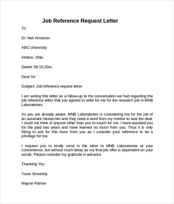 8 Job Reference Letters \u2013 Samples, Examples  Formats Sample Templates - reference request letter