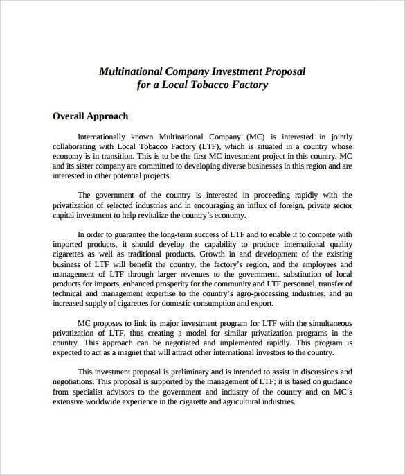Investment Proposal Template - sample investment proposal