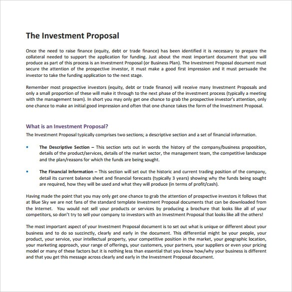 Sample Investment Proposal - 22+ Documents In PDF, Word