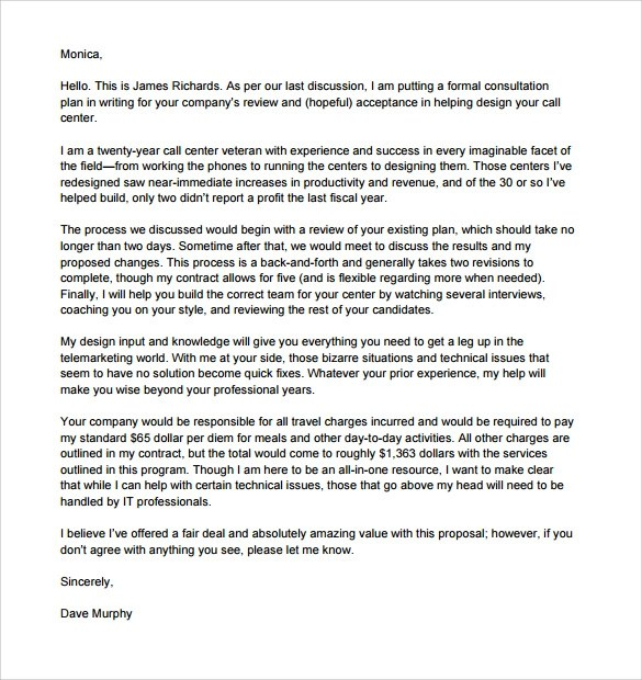 Sample Business Proposal Letter Deiric Mccann Sample Consultant Proposal Template 6 Free Documents