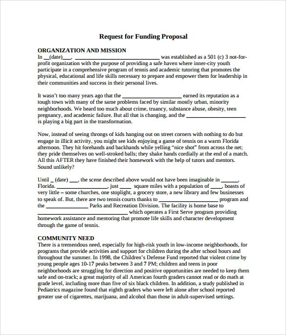 Sample Funding Proposal - 6+ Documents In PDF, Word - funding proposal template