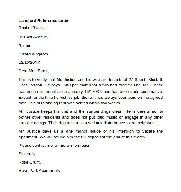 Sample Reference Letter For Tenant From Landlord – Landlord Reference Letter