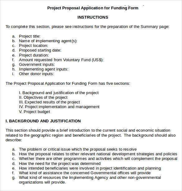 Project Proposal For Funding Examples Of How ProgrammeProject
