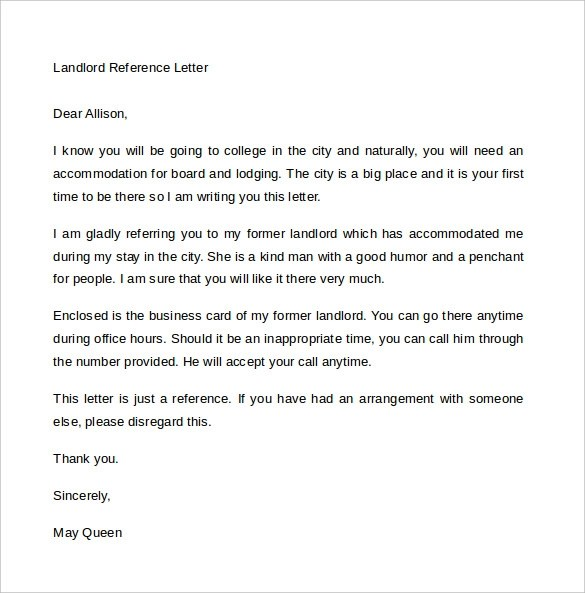 Character Reference Letters Landlord Reference Letter 6 Download Free Documents In