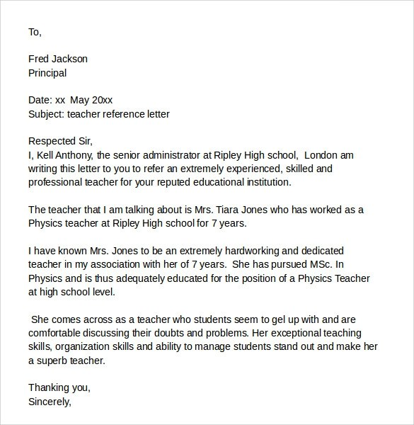 Sample Reference Letter From A Teacher The Balance Sample Reference Letter For A Student 7download Free