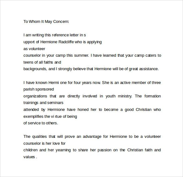 Work Reference Letters\u2013 Samples, Examples  Formats Sample Templates