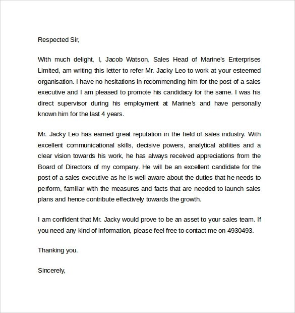 Academic Recommendation Letter Sample Work Reference Letter –7 Free Samples Examples And Formats