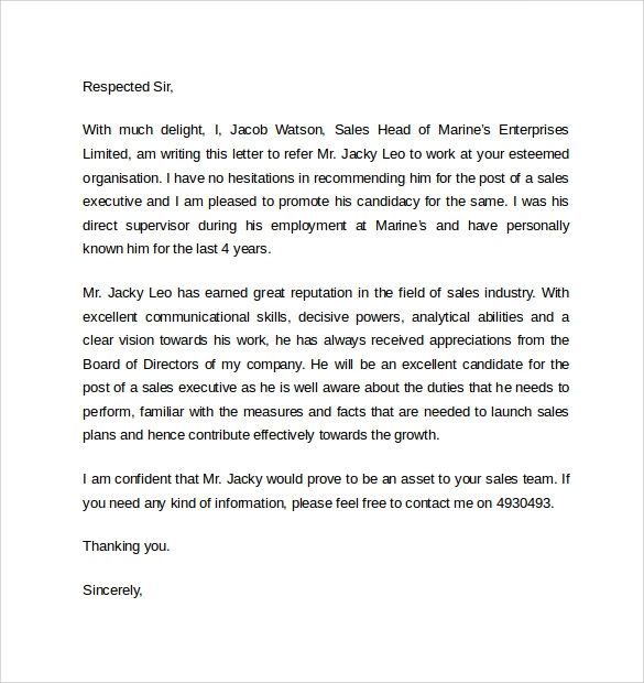 examples letter of recommendation for a job