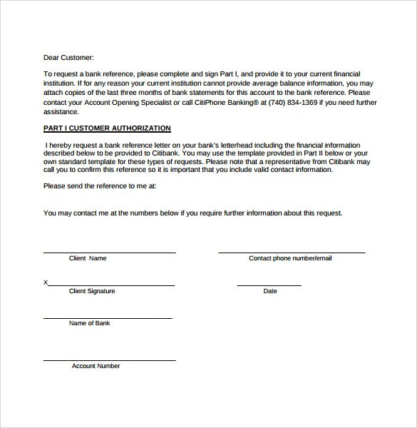 6 Bank Reference Letters \u2013 Samples , Format  Examples Sample - reference request letter