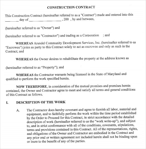 Sample Contract Proposal Template Printable Sample Business - free construction contracts