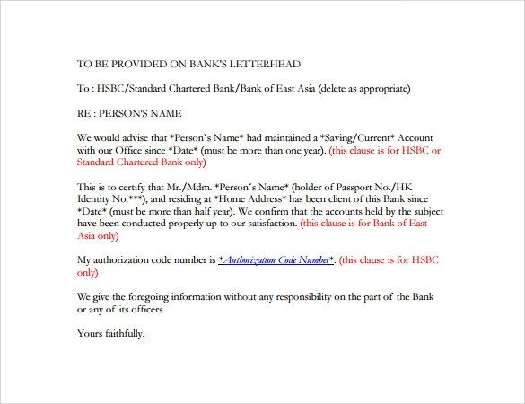 Bank Reference Letter - 5+ Free Samples , Format  Examples
