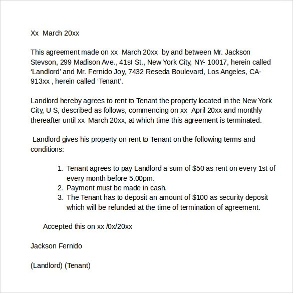 Rental Agreement Letters Samples Examples Formats 7 Sample Rental