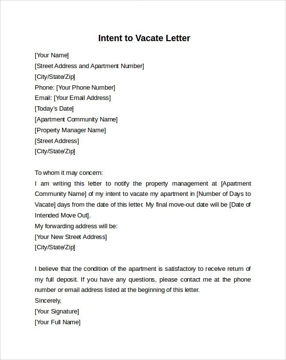 Intent to Vacate Letter \u2013 7+ Free Samples, Examples  Formats