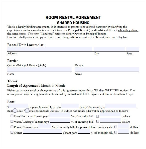 Sample Residential Rental Agreement -12+ Examples  Format