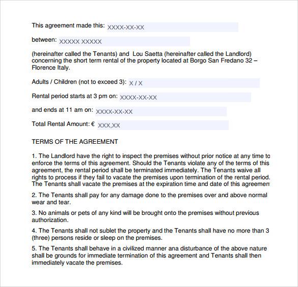 Sample Short Term Rental Agreement - 7 + Free PDF, Word Format Download