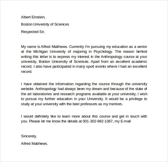 8 Letter Of Intent Graduate School \u2013 Samples, Examples  Formats - letter of intent for university