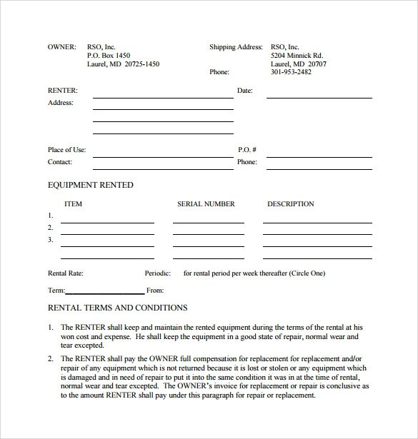 7+ Sample Equipment Rental Agreements Sample Templates