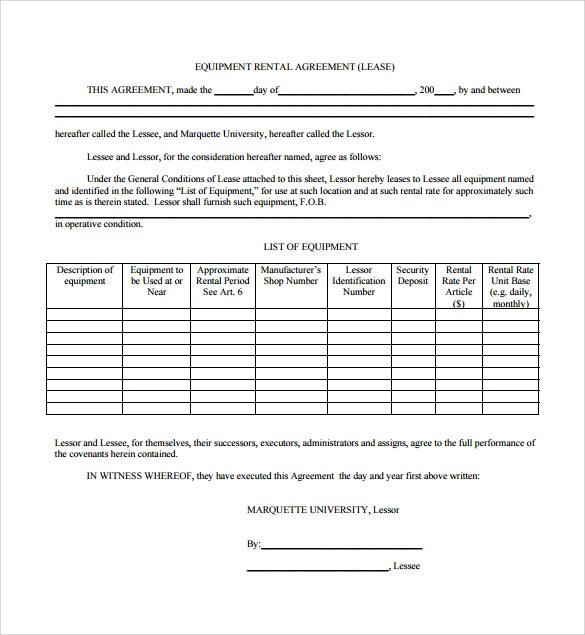 Sample Equipment Rental Agreement - 8+Documents in PDF, Word - sample equipment rental agreement