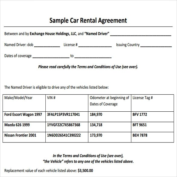 sample vehicle lease agreement template - gerhard-leixl - Sample Lease Agreement Form