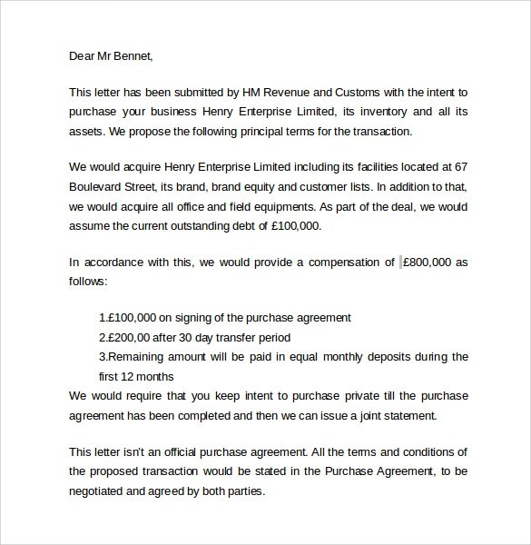 Letter Of Intent To Purchase Assets Template – Sample Letter of Intent to Purchase a Business