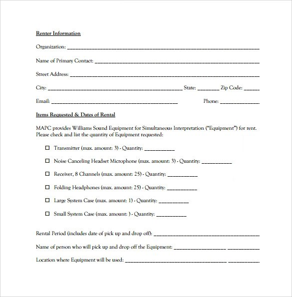 Sample Equipment Rental Agreement - 8+Documents in PDF, Word - equipment lease agreement template