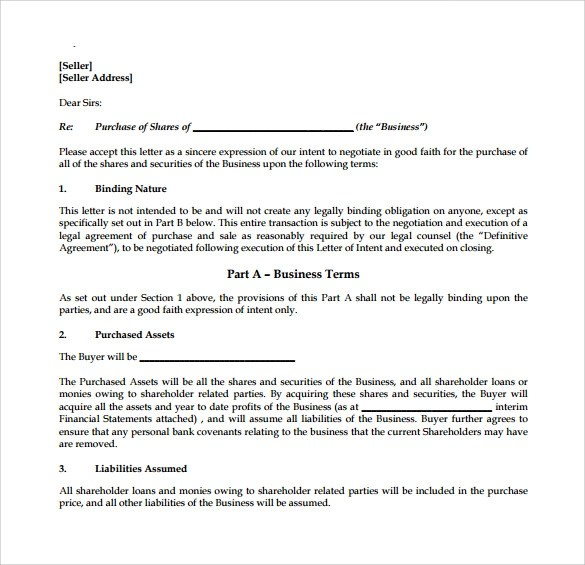 9 Letter Of Intent to Purchase Business \u2013 Samples, Examples