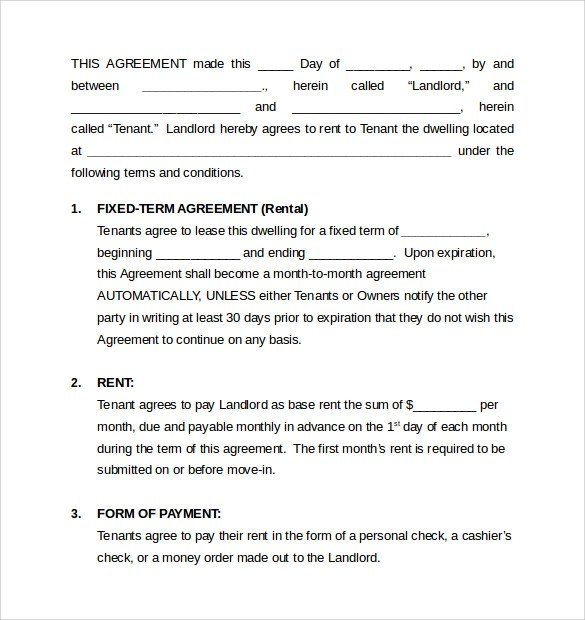 Month To Month Rental Agreement Form cvfreepro - Sample Monthly Rental Agreement