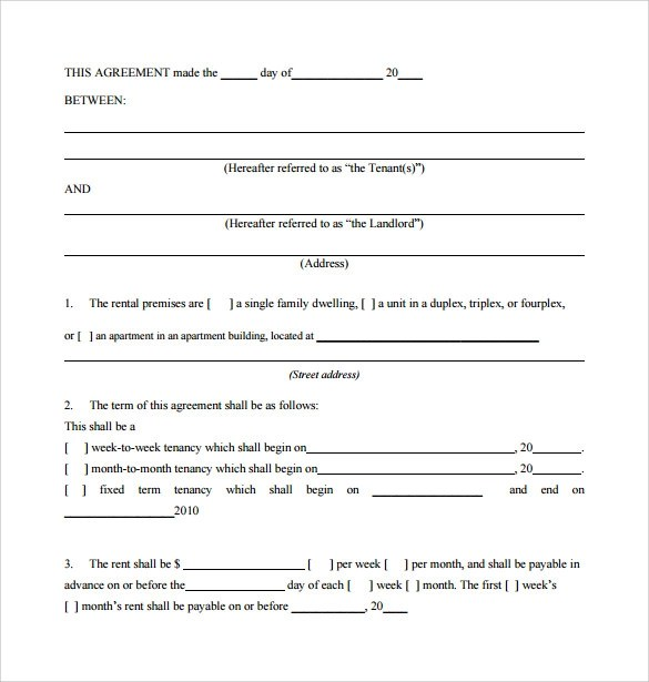 7+ Sample Monthly Rental Agreements Sample Templates - month to month lease agreement example