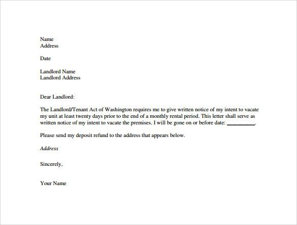letter of notice to tenant