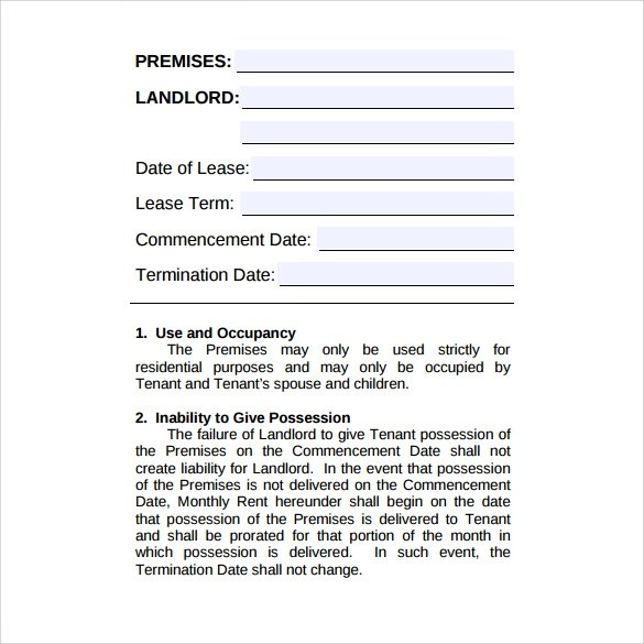 8 Rental Lease Agreement Samples , Examples  Formats Sample Templates