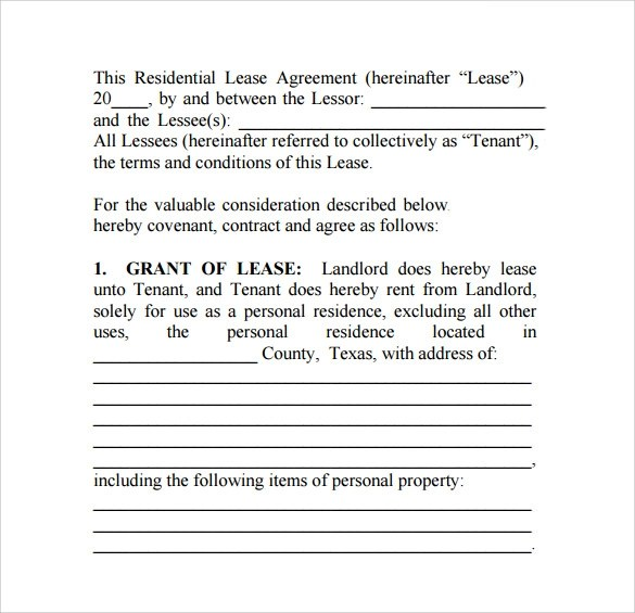 12+ Texas Residential Lease Agreements \u2013 Samples, Examples  Formats