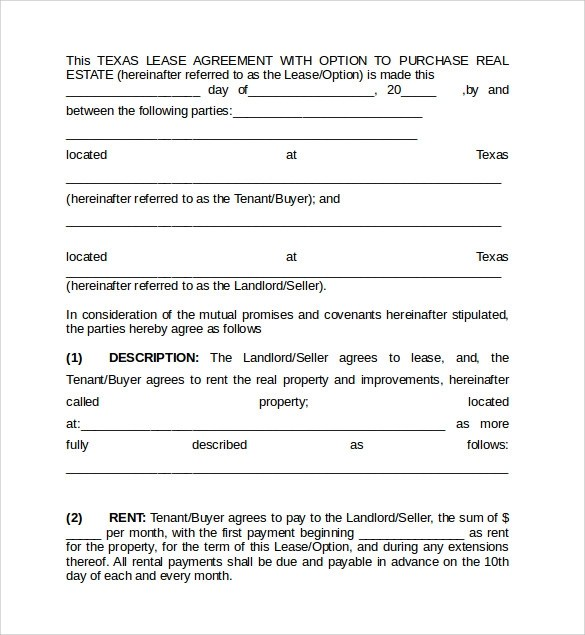 Sample Texas Lease Agreement Texas Residential Lease Agreement - rent with option to buy contract