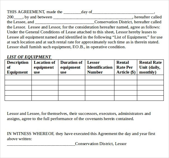 12+ Equipment Lease Agreement \u2013 Samples, Examples  Format Sample