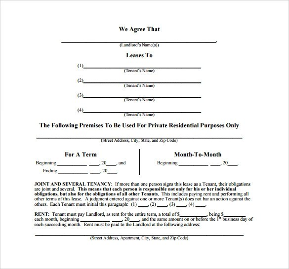 8+ Month to Month Lease Agreements \u2013 Samples, Examples  Formats
