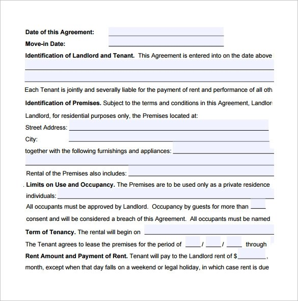 8+ Standard lease Agreements \u2013 Samples, Examples  Formats Sample