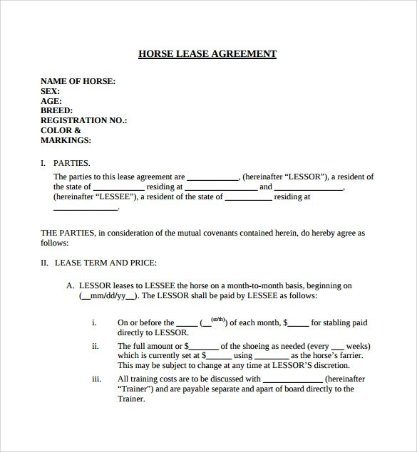 7+ Horse Lease Agreement Templates \u2013 Samples, Examples  Formats - Sample Lease Agreement Form