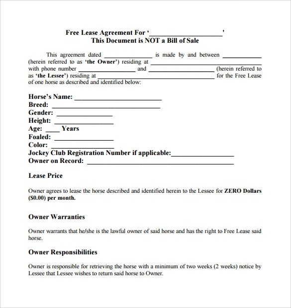 Sample Horse Lease Agreement - 7+ Free Documents in Word, PDF - lease document free