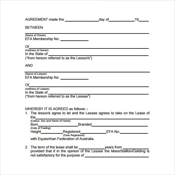 Sample Horse Lease Agreement - sarahepps -