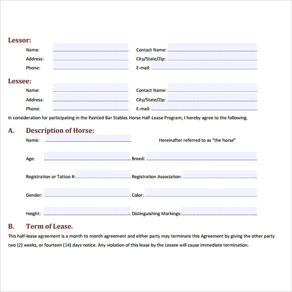 Sample Horse Lease Agreement - 7+ Free Documents in Word, PDF - sample horse lease agreement template