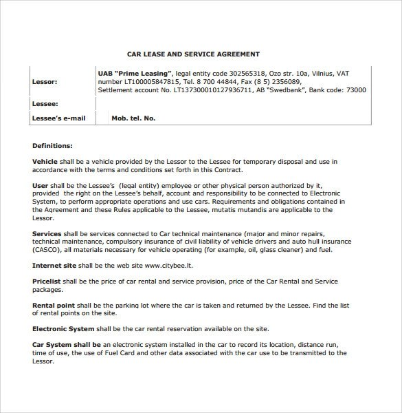 7+ Sample Vehicle Lease Agreement Templates \u2013 Samples, Examples