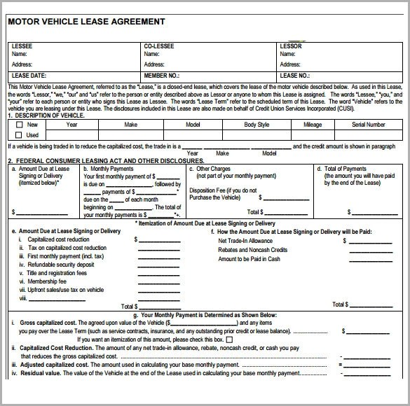 vehicle lease agreement sample - Onwebioinnovate