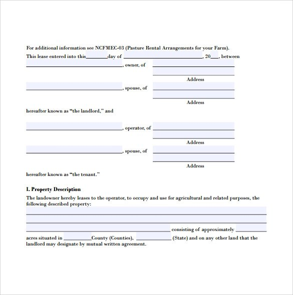 6+ Sample Pasture Lease Agreements Sample Templates - Sample Pasture Lease Agreement Template